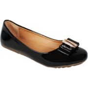 Vilax Shining patent Ballerinas With Buckle Embellishment Bellies(Black, Beige)