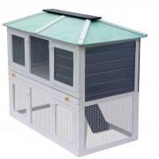 vidaXL дървена клетка за зайци на два етажа