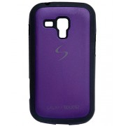 iCandy™ Premium Quality Black Boarder Leather Finish Soft Back Cover For Samsung Galaxy S Duos S7562 / S Duos 2 S7582 - Purple