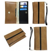 J Cover A5 S Series Leather Wallet Universal Pouch Cover Case For Apple iPhone 7 Plus 256GB Tan Black