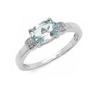 Inel argint, topaz albastru si diamante albe
