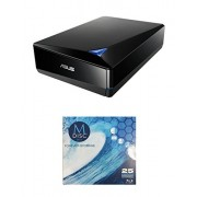 Asus 12x BW-12D1S-U Lite External Blu-ray Writer Bundle with 1 Pack M-DISC BD - Supports USB 3.0 (Black, Retail Box)