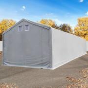 tendapro.it Tendone deposito 4x18m - altezza 3m, ingresso 3x3,2m, PVC 550 g/m², grigio