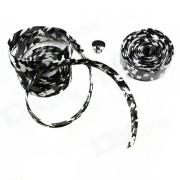 Bicicleta antideslizante antideslizante Cinta de manillar Cinturon Wrap w / bar Plug - Camuflaje + Negro + blanco