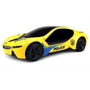 Velocity Toys Electric Future Police 1:18 Scale Battery Operated Bump and Go Toy Car w/ Flashing Lights, Sounds (Colors May Vary)