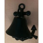 Cast iron antique black anchor wall hanger w/bell