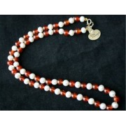 42Cm White Cultured Freshwater Pearl And Red Agate +9Ct