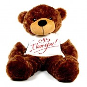 Brown 5 feet Big Teddy Bear wearing a I Love You T-shirt