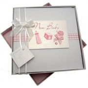White Cotton Cards - Album fotografico New baby, dimensione media, colore: Rosa