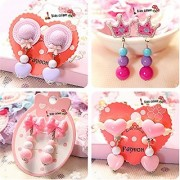 Elesa Miracle Girl Party Favor Birthday Gift Pretend Play Princess Jewelry Set 4pc Different Style Clip-on Earrings Value Set