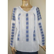 Hand embroidered peasant blouse - dark blue - black flowers (narcisus) L/XL