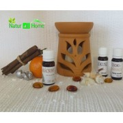 Candelă de aromaterapie și 3 sticluțe de ulei de parfum Vanilie, Tropical și Cocos