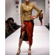 Gold And Red Shaded Jacket Dress