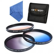 K&F Concept 3pcs 67mm Graduated Color Lens Filter Kit for CANON Rebel T5i T4i T3i T2i EOS 700D 650D 600D 550D 70D 18-135MM Zoom Lens Include: Graduated Neutral Density Orange Blue + Microfiber Lens Cleaning Cloth + Filter Bag Pouch