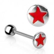 Nyelv piercing - piros csillag motívum