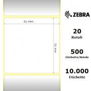 Zebra PolyPro 4000D - Etichette in polipropilene di colore bianco, formato 51 x 51 mm.