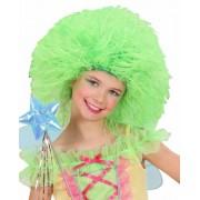 Video Delta - Parrucca in Sacchetto, Modello Fatina, Verde Fluorescente