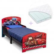 Set pat cu cadru din lemn Disney Cars si saltea pentru patut Dreamily - 140 x 70 x 10 cm