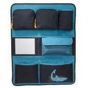Lassig Kids Car Seat Organizer Travel Storage Bag for Back-seat Multi-Pocket Bag with Multiple Pockets Ocean Shark