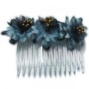 Peineta con flores en tonos azules