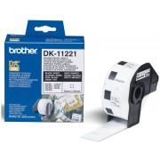 PAPER, Brother DK-11221 Square Paper Labels, 23mmx23mm, 1000 labels per roll (Black on White) (DK11221)