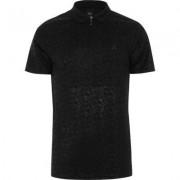 River Island Black geo print slim fit polo shirt