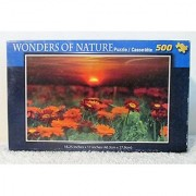 Wonders of Nature - Sunset with Orange Wildflowers - 500 pc