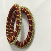 Girl silk thread bangle for 2 to 3 years girl with stone bangles set of 6 pieces