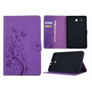 Samsung Galaxy Tab E 9.6 T560 / T561 - Creatieve Tablet Hoes met Bloemen Design voor bescherming voor- en achterkant - Kleur Paars