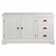 Dekoria Komoda Brighton 3 szuflady + 2 drzwi white, 140x48x80cm