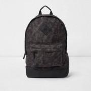 River Island Mens Blue crosshatch front pocket backpack