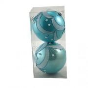 Set 2 globuri pentru brad turcoaz cu sclipici si perle