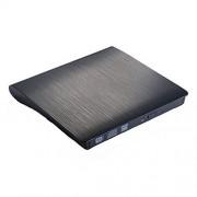 USB3.0 Salcar - DVD-RW DVD / CD Portatile Masterizzatore CD DVD Esterno Slim, 9,5 Millimetri, SuperDrive per Tutti i PC laptop / desktop di Windows e Mac OS per Apple MacBook, MacBook Pro, MacBook Air, iMac - nero