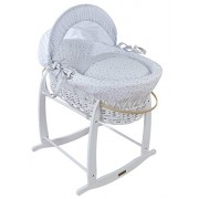 Clair de Lune White Wicker Moses Basket (Grey, Stars and Stripes)
