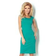 S-a-F Dámské společenské a casual šaty luxusní SHIM.cz 5313 vypasované s krátkým rukávem krátké zelené - L, zelená