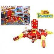 Fire-station with fire trucks emergency - search and rescue mission - help save the burning city - includes a play mat a