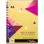 TREELINE NOTEBOOK FEINT AND MARGIN A6 SPIRAL BOUND 100PAGES