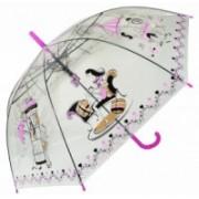 Deštník dámský holový průhledný pink 9164-1 9164-1
