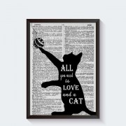 Zwart wit katten poster All you need is love and a cat