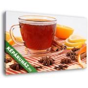 Egy csésze tea, fahéjjal és naranccsal (40x25 cm, Vászonkép )