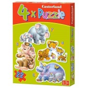 Puzzle 4 in 1 - Pui in jungla, 22 piese