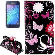 Butterflies Love Flowers Pattern Horizontal Flip Leather Case with Holder & Card Slots & Wallet for Samsung Galaxy J2 / J200