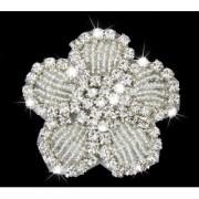 Crystal Rhinestone Iron On Flower Applique For Wedding Bridal Dress DIY
