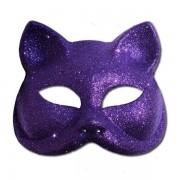 Glitter Cat Masquerade Mask In Purple