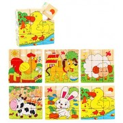 VolksRose 9 Pcs Wooden Cube Block Jigsaw Puzzles - Farm Animal Pattern Blocks Puzzle for Child 3 Year and Up