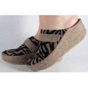 Papuci de casa bej cu negru din lana cu platforma dama/dame/femei (cod 6623)