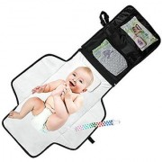 Mom's Besty Luxury Baby Change Pad with Built-in Head Cushion - Portable Diaper Changing Station for Travel and Home - BONUS Pacifier Holder Clip