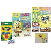Two Spongebob Coloring & Activities Books and Band and 16 Crayola Crayons Box (Pack of 3)