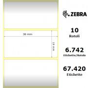 Zebra Z-Ultimate 3000T White - Etichette in poliestere di colore bianco, formato 38 x 19 mm.