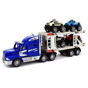 Off Road Police Transporter Trailer 1:32 Childrens Kids Friction Toy Truck Ready To Run W/ 4 Toy Trucks, No Batteries Required (Colors May Vary)